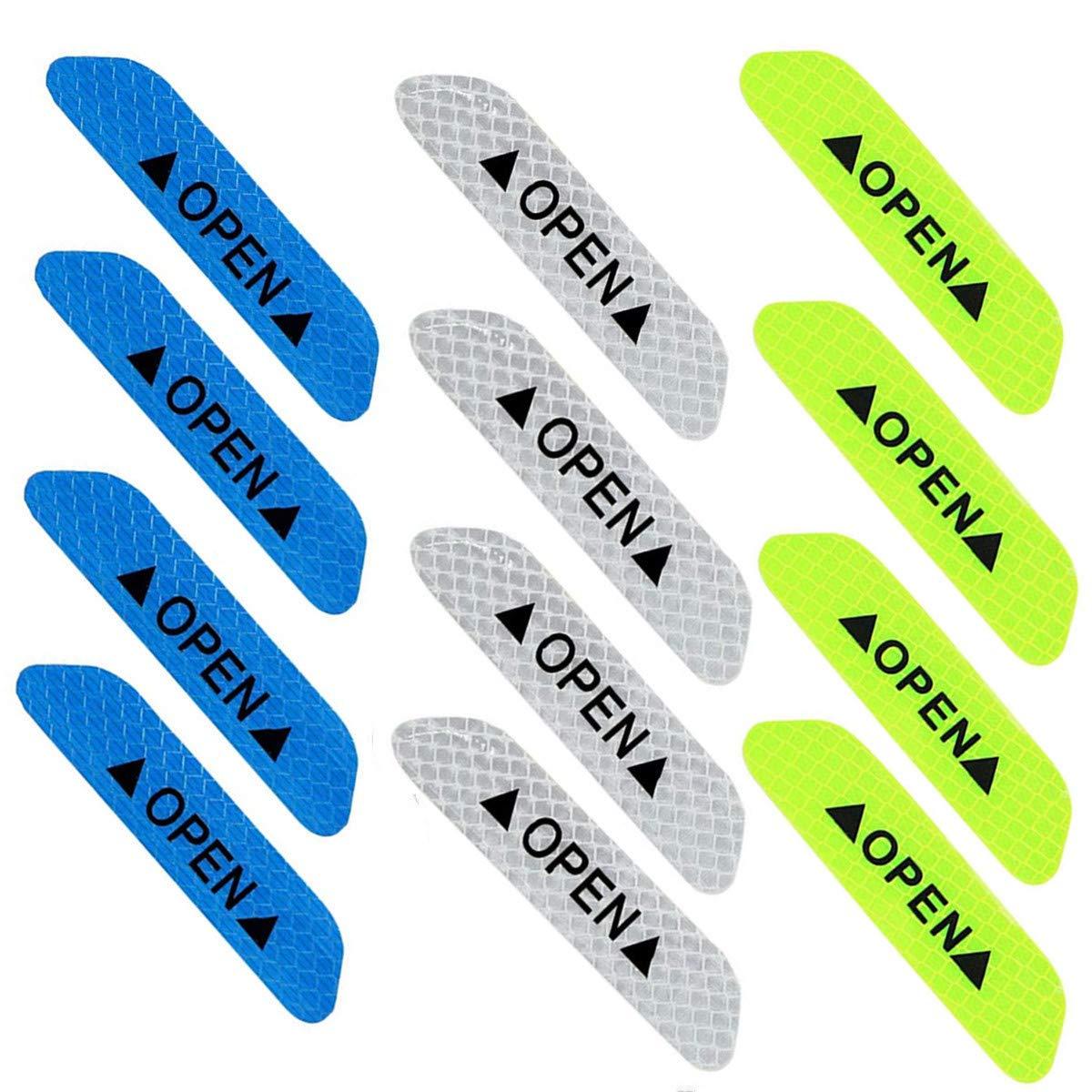 Wakaka 12 Pcs Universal Open Sign Reflective Open Sticker Waterproof Car Door Safety Warning Mark Tape Decal