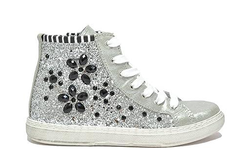 Cafè Noir Donna Sneaker alta in glitter e pietre ornamentali, DF921,  GHIACCIO, 40