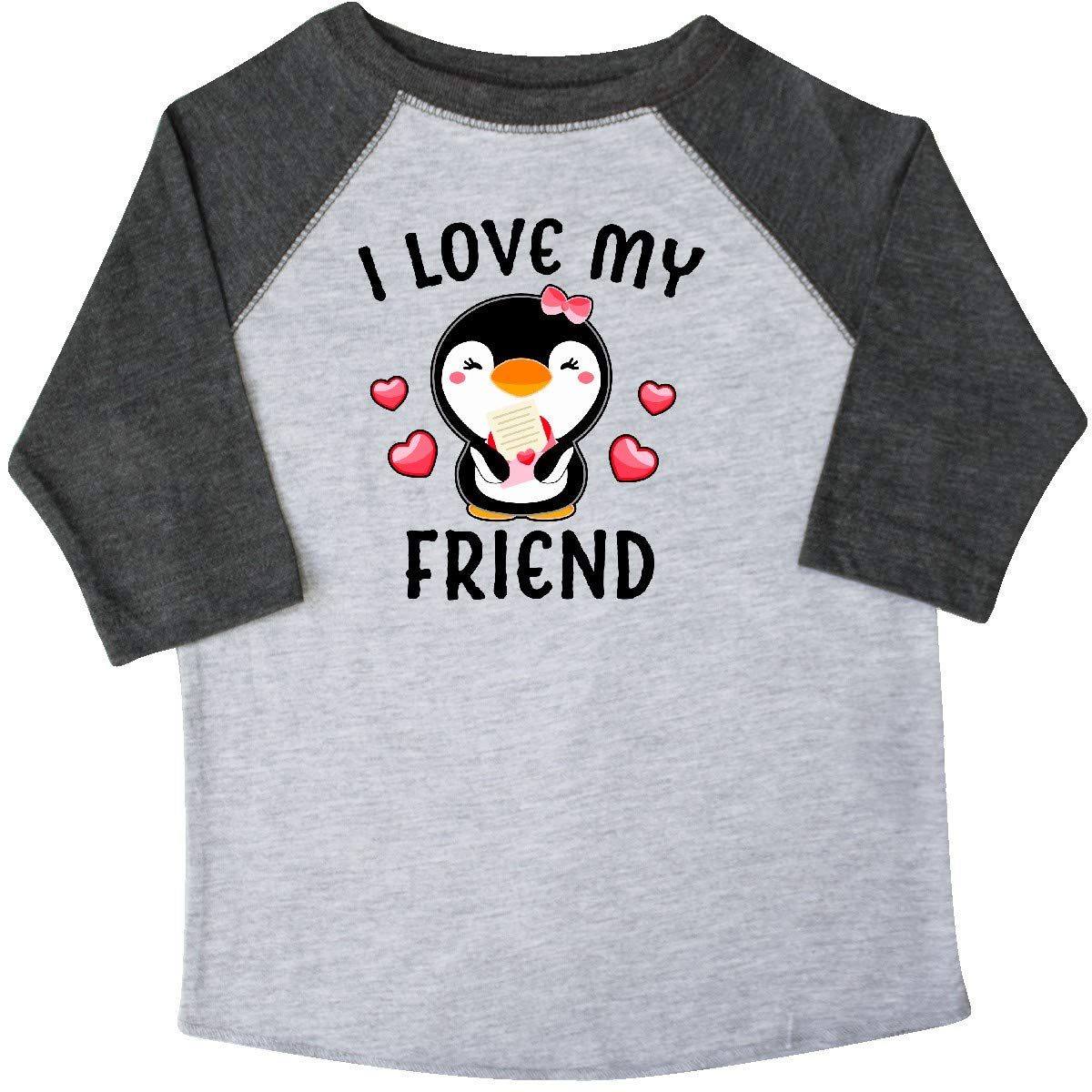 inktastic I Love My Friend with Cute Penguin and Hearts Toddler T-Shirt