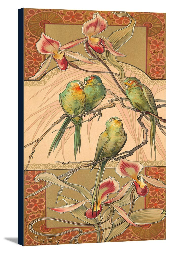 Oiseaux Et Fleurs styliseesヴィンテージポスター(アーティスト:ゴーレイ)スイスC。1896 8 3/8 x 18 Gallery Canvas LANT-3P-SC-74072-12x18 8 3/8 x 18 Gallery Canvas  B01DZ22USE