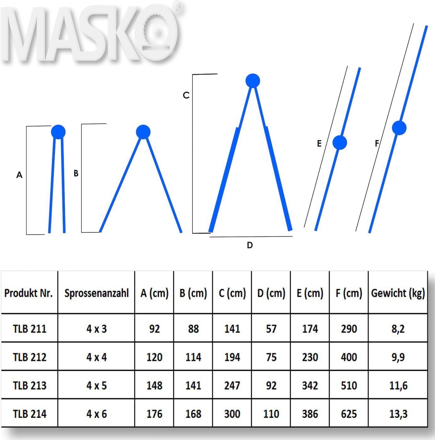 MASKO/® Aluleiter Mehrzweckleiter 5,10m 4x5 Sprossen Teleskopleiter ✓ Multifunktionsleiter ✓ Aluleiter ✓ Klappleiter ✓ Anlegeleiter ✓ Bockleiter ✓ Schiebeleiter ✓ beidseitige Steh und Treppenleiter