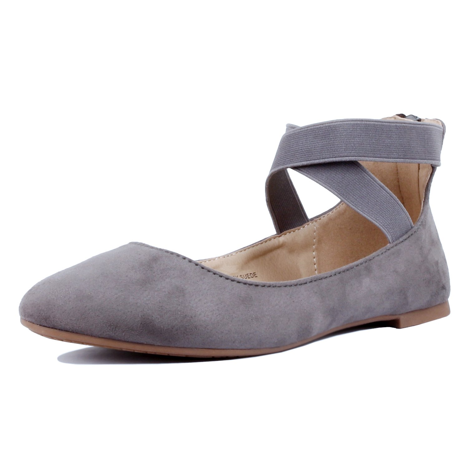 Guilty Shoes - Women's Classic Ballerina Flats - Elastic Crossing Straps - Comfort Stretchy Ballet-Flats, Grey Suede, 9
