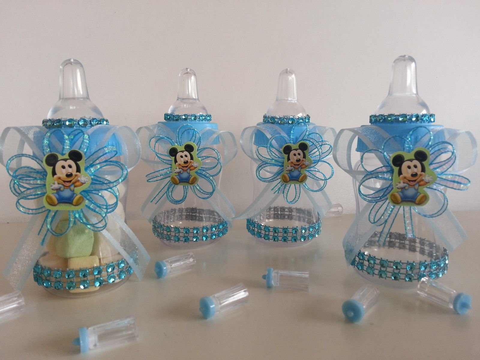 12 Baby Mickey Mouse Fillable Bottles Baby Shower Favors Prizes Boy Decorations