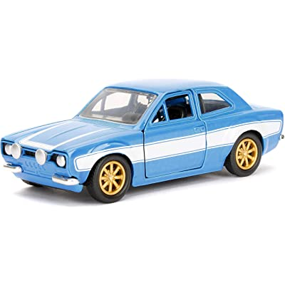 Jada Toys Fast & Furious Movie 1970 Brian's Ford Escort Blue with White Stripes, 1/32 Die-cast Model Car: Toys & Games