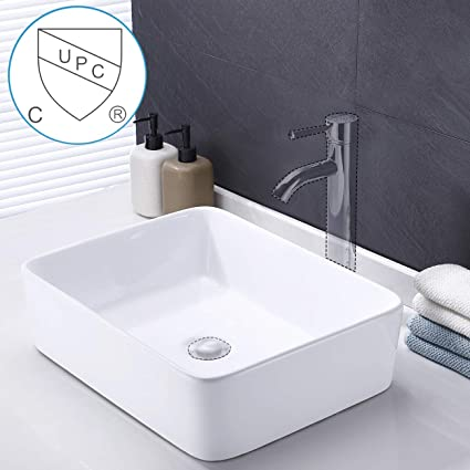Fantastic Kes Bathroom Vessel Sink 19 Inch White Rectangle Above Counter Countertop Porcelain Ceramic Bowl Vanity Sink Cupc Certified Bvs110 Download Free Architecture Designs Embacsunscenecom