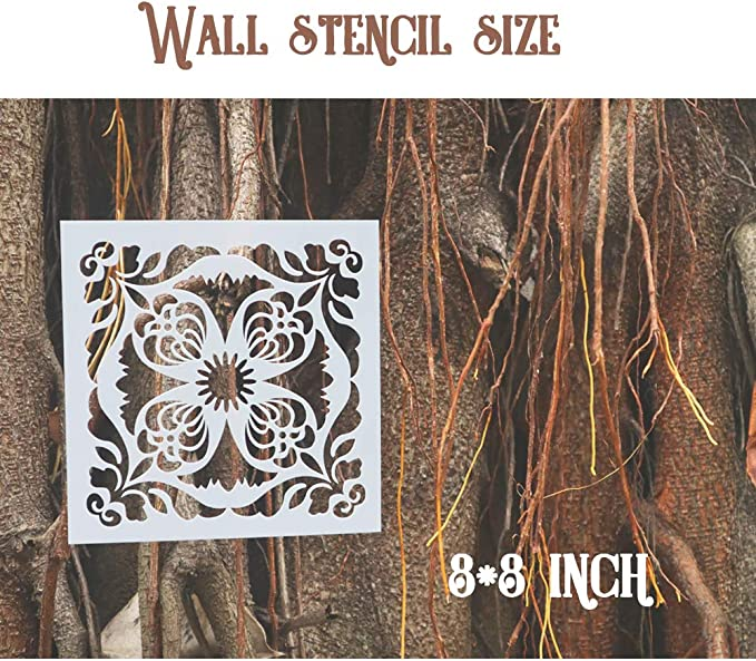 8X8 inch BAISDY 16pcs Tile Floor Wall Stencil for Painting Style 6 - Reusable Stencils Art for Furniture Wood and Home Decor