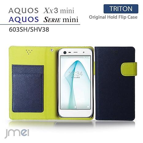 a324143c7f AQUOS Xx3 mini 603SH/SERIE mini SHV38 ケース JMEIオリジナルホールドフリップケース TRITON ネイビー
