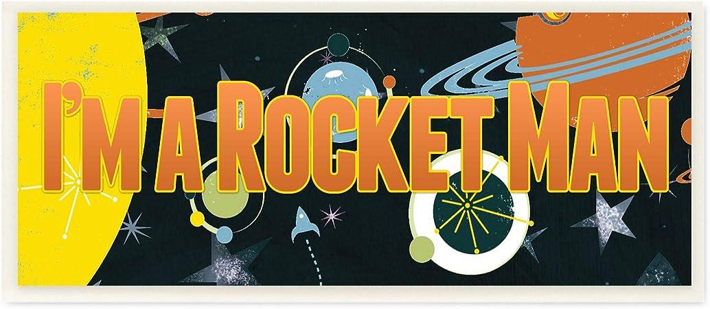 Stupell Industries Im A Rocket Man Space Kids Nursery Orange Word Design by Artist The Saturday Evening Post Wall Art Canvas 13 x 30