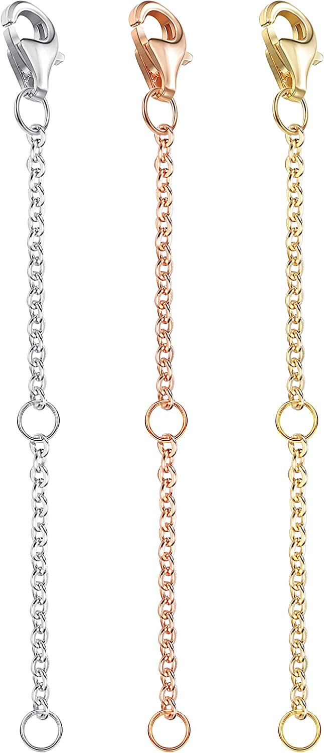 3 Pcs Sterling Silver Extenders Chain Necklace Bracelet Anklet Extension Box Chains Set for Jewelry Making 18K Real Gold 1 2 3 Inch