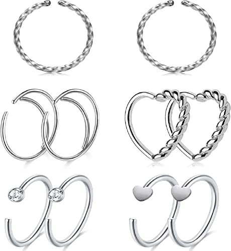 LAURITAMI Aros Piercing Nariz Septum Falso Plata Pack 8mm 20G ...