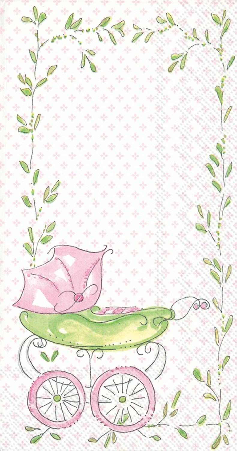 Ideal Home Range BF707659 Rosanne Beck 16 Count Paper Buffet Guest Towels, Pink Baby Carriage