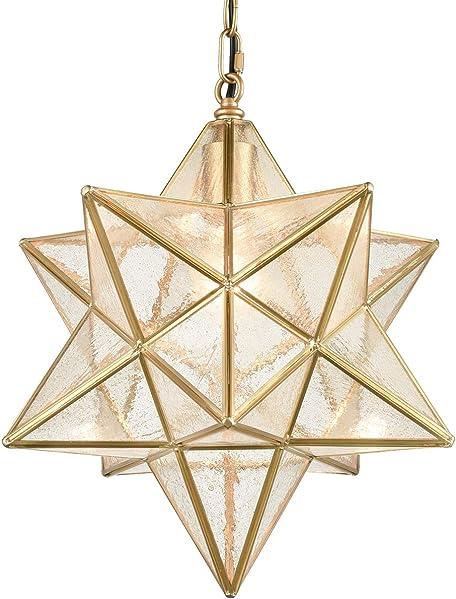 Dazhuan Moravian Star Light Fixture Modern Brass Seeded Glass Pendant Light