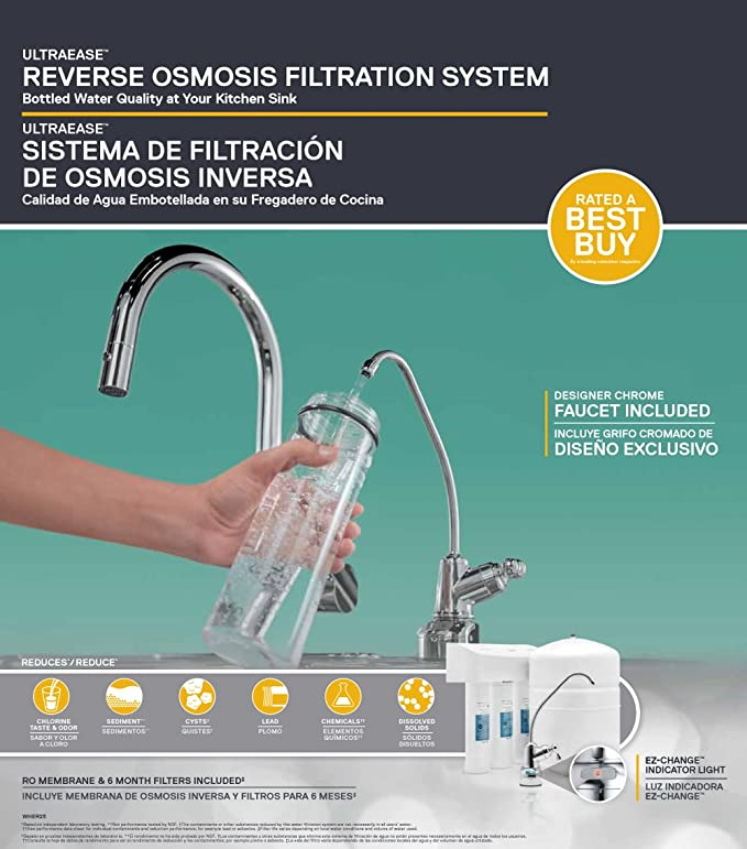 Whirlpool WHER25 Reverse Osmosis (RO) Filtration System with Chrome Faucet  | Extra Long Life | Easy to Replace UltraEase Filter Cartridges, White
