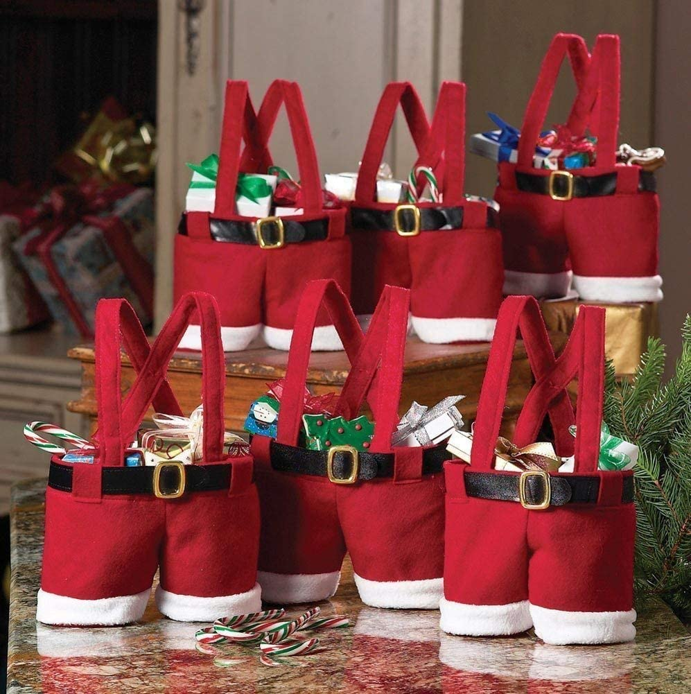 6 Pack Christmas Decorations Awsaccy Gift Bags Candy Bags Stocking Tree Filler Santa Pants Style Lovely Cute Treat Bags Sacks Stocking Xmas Gift for Kid Small Size Red