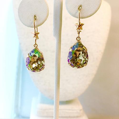 330b9ad0c Amazon.com: Swarovski Crystal Luminous Green Pear Drop Earrings: Handmade