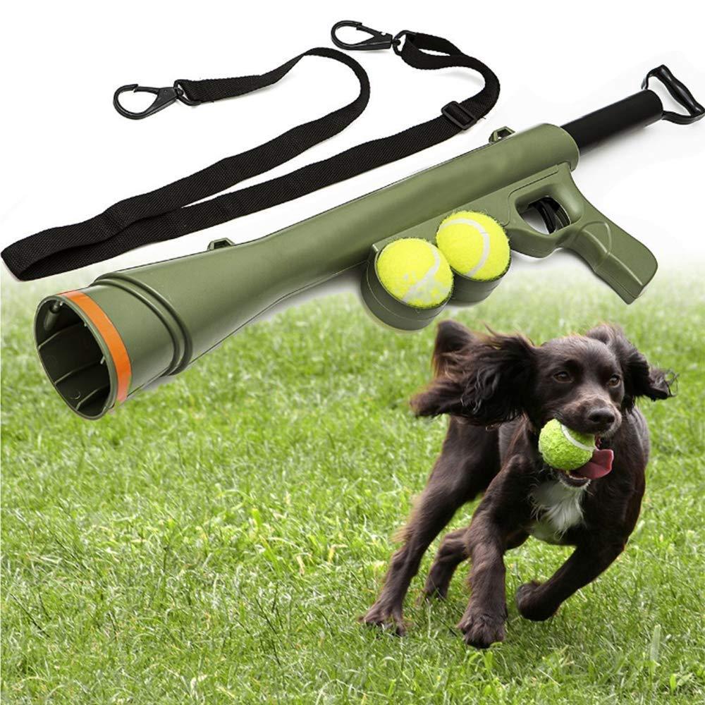 DOOKK Dog Ball Launcher, Pet Ball Launch Gun Tennis Thrower 3/6/9 M Suitable for Dog Indoor Outdoor Games (3 Tennis) 23.5L x 7.5H in by DOOKK