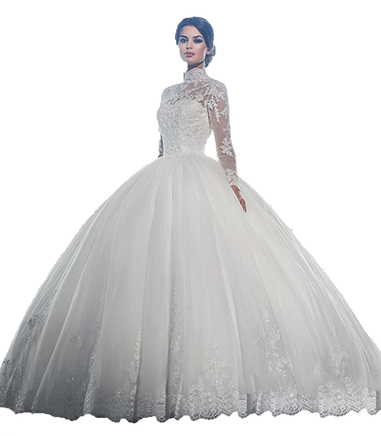 Babygirls Wedding Dress With Applique Tulle High Collar Sheer Long