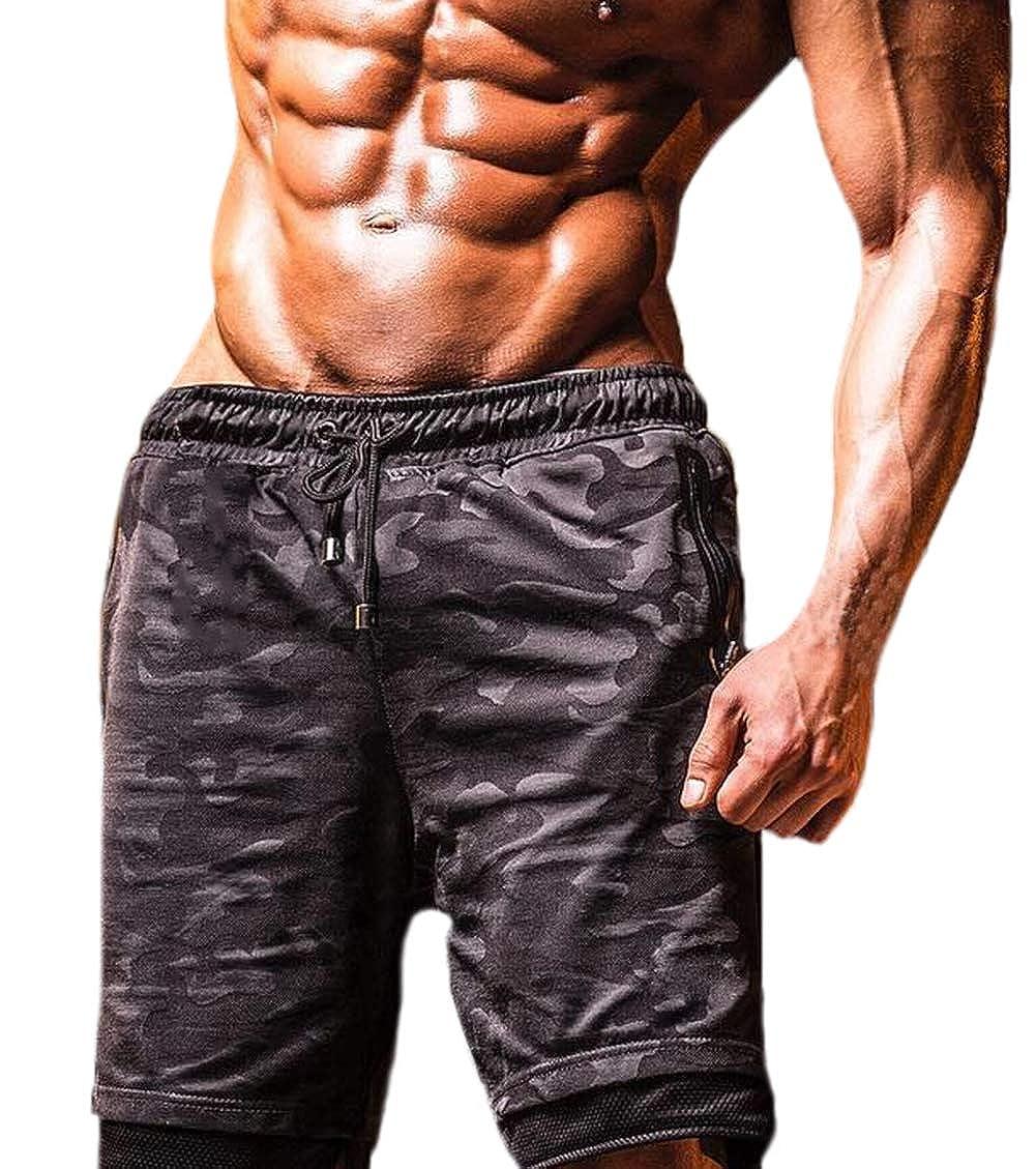 Mens Athletic Gym Shorts Workout Running Bodybuilding Training Short Pants