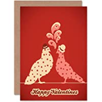 Happy Valentines Painting Stylised Pigeons Bowler HAT Stars Greeting Card