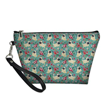 HUGS IDEA Cute Pug Print PU Leather Cosmetic Pouch Travel Casual Handle Toiletry Storage Bag