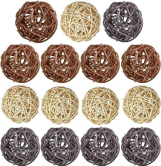 15pcs 4cm Wicker Rattan Ornament Balls Wedding Party Decoration Vase Fillers