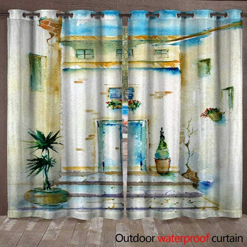 Home Patio cortina de aire libre acuarela vieja sobre con primavera verde eucalipto y magnolia pintado a mano tarjeta floral con flor plata dólar eucalipto y hierbas cortina impermeable W108 pulgadas x