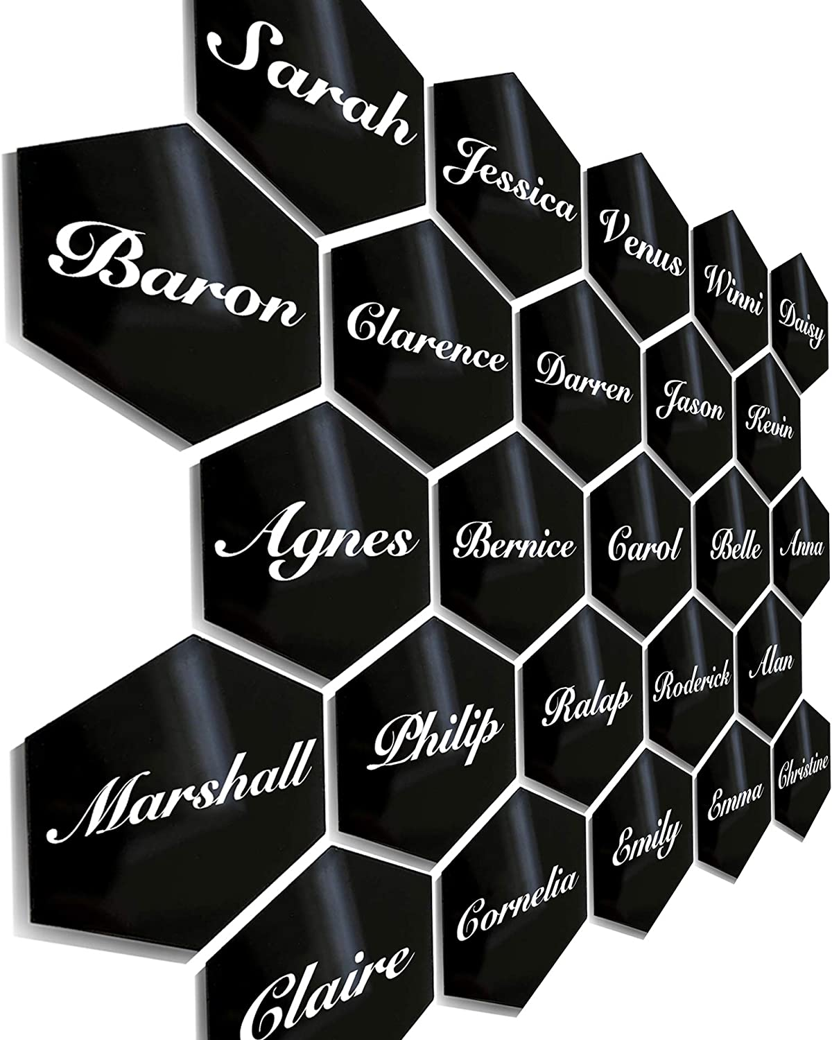 25Pcs Black Hexagon Acrylic Place Card for Wedding Party Dinner Table Special Seat Guest Blanks Handwritten Calligraphy Name Escort Card Signature Logo Food Signs DIY Label Banquet Event Parties Decor