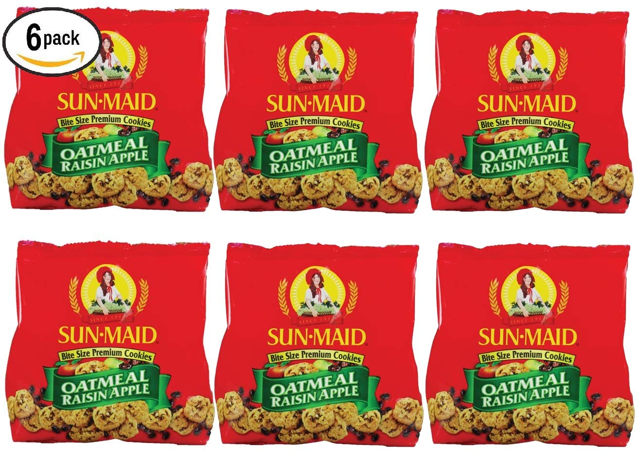 Sun Maid Oatmeal Raisin Apple Bite Size Premium Cookies (Pack of 6). 5 Oz per Pack. 30 Oz Total by Sun Maid