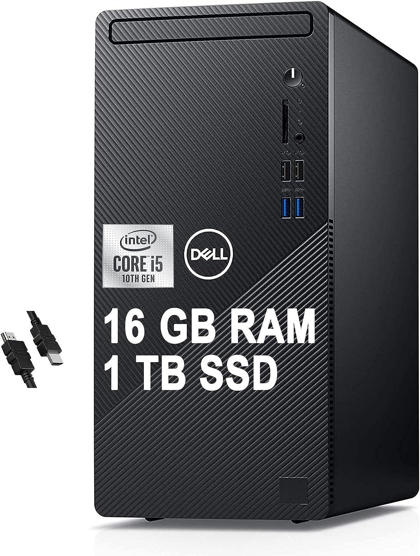 2021 Flagship Dell Inspiron 3000 3880 Desktop Computer 10th Gen Intel Hexa-Core i5-10400 (Beats i7-8700T) 16GB RAM 1TB SSD Intel UHD Graphics 630 WiFi No-DVD Win10 + iCarp HDMI Cable