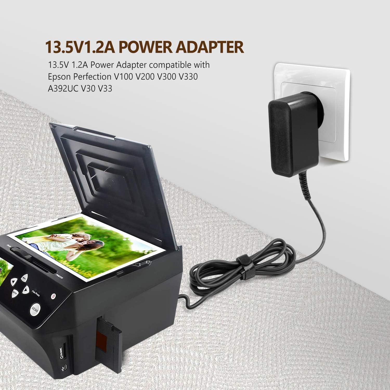 TAIFU 13.5V 1.2A AC Adaptateur Ordinateur Portable pour Epson Perfection V100 V200 V300 V330 A392UC V30 V33 V37 V30SE A391GB v350 V370 Document Flatbed Scanner 2124951-01 B11B200201 A391UC 2115845-00