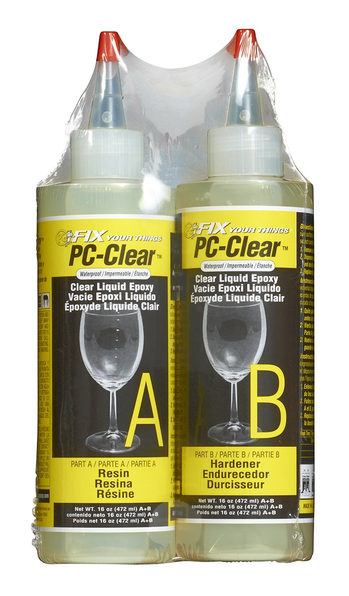 PC Products PC-Clear Two-Part Epoxy Adhesive Liquid, 16oz in Two Bottles, Clear 70161