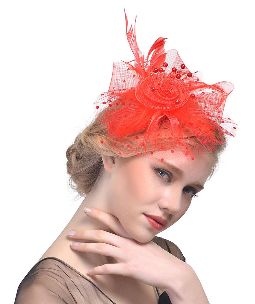 Mesh Feather Headwear Fascinator Vintage Elegant Hair Accessories for Women Party Cocktail Tea White AIEOE
