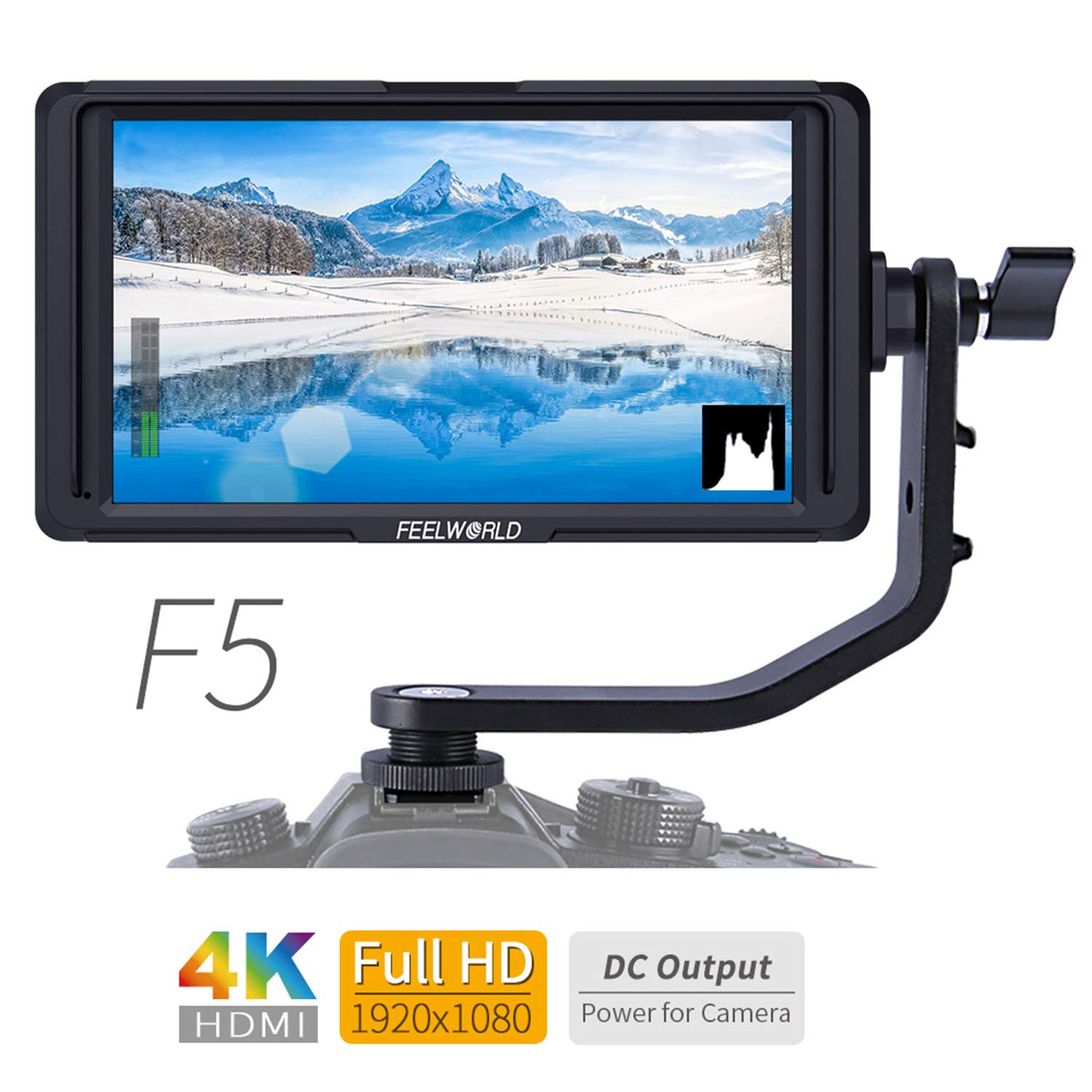 FEELWORLD F5 5 Inch 4K HDMI IPS 1920x1080 High Resolution On-Camera Field Monitor with Histogram, Focus Assist, False Color, Zebra Exposure, Check Field, Pixel to Pixel for DSLR Camera by FEELWORLD