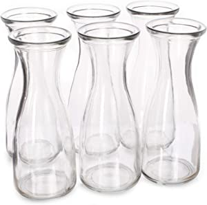 17 oz (500 ml) Glass Carafe Beverage Bottles, 6-pack - Water Pitchers, Wine Decanters, Mixed Drinks, Mimosas, Centerpieces, Arts & Crafts - Restaurant, Catering, Party, Home Kitchen Supplies