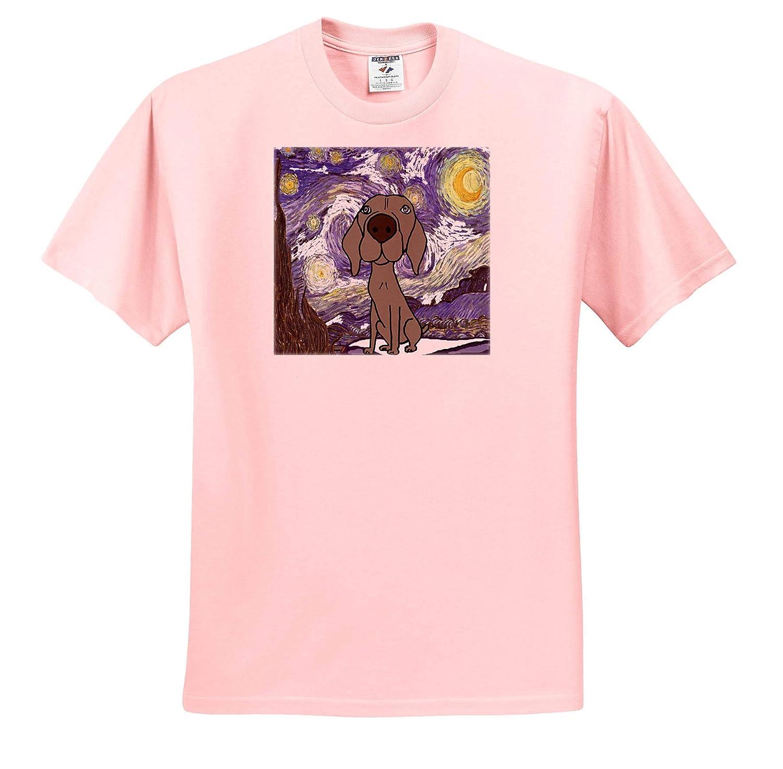 Funny Cute Weimaraner Puppy Dog in Starry Night Van Gogh Art Adult T-Shirt XL 3dRose All Smiles Art Pets ts/_317007