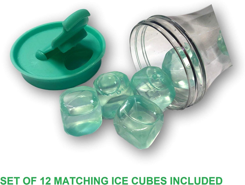 t/é helado jarra decantadora para agua 1,2 L vino Juego de 2 jarras de agua de pl/ástico con tapa y cubos de hielo de colores DFL Tableware