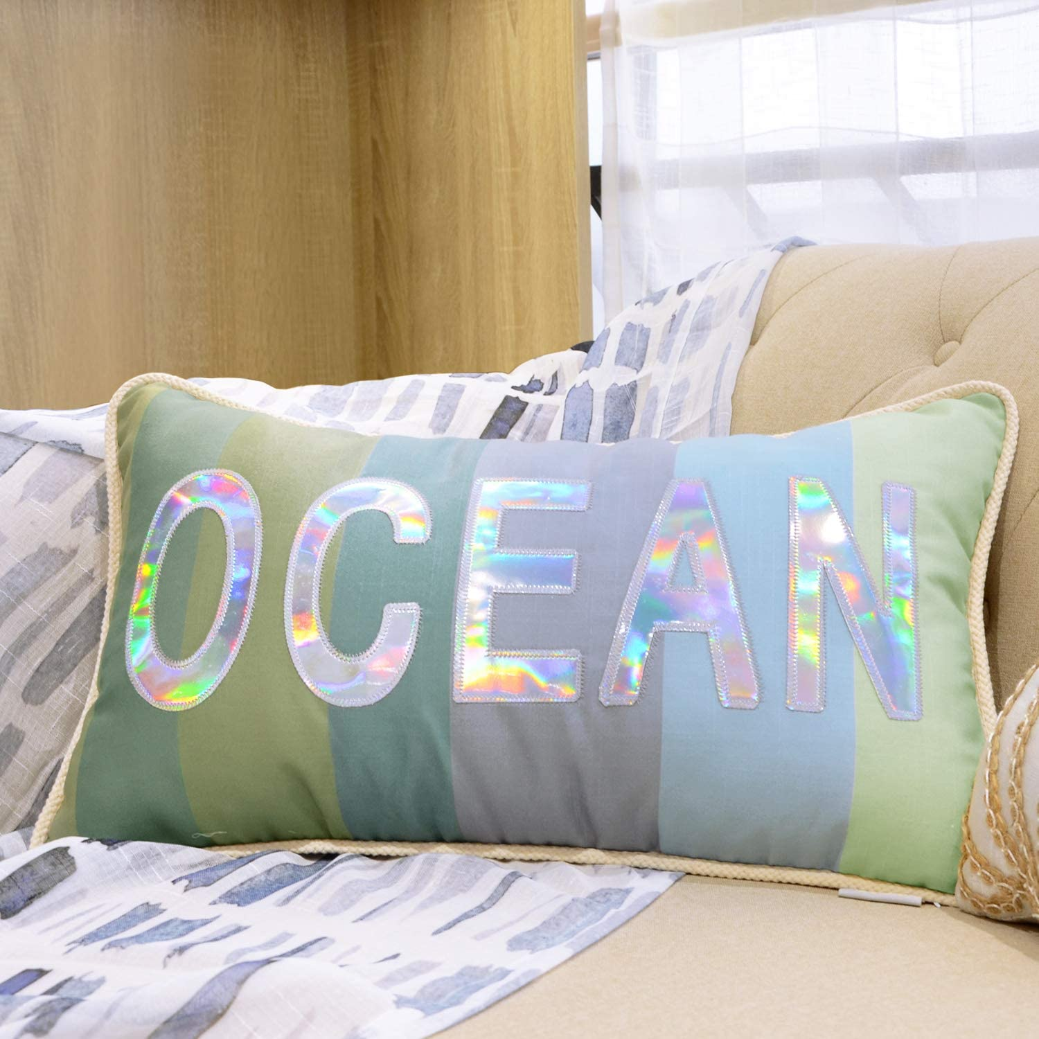 Hahadidi Marine Throw Pillow Cover 14 X 24 Inch 35x60cm With Unique Design Of Ocean Letters Laser Paste Cloth Embroidery Pillowcase No Pillow Insert For Sofa Couch 1piece Home Kitchen