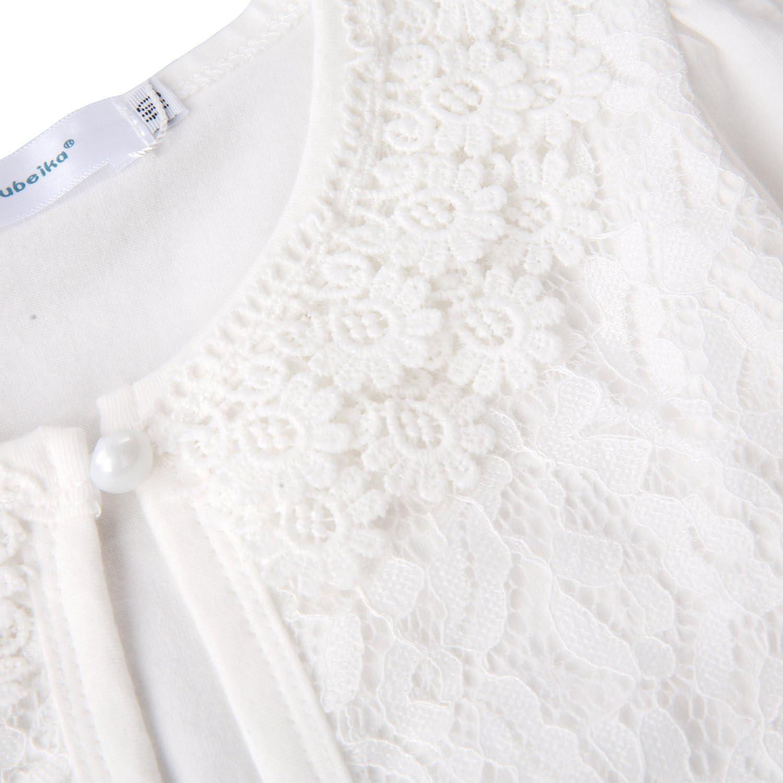 Acecharming girls Beaded Flower Bolero Jacket Shrug Short Cardigan Dress Cover Up,Lace Cream White,3-4