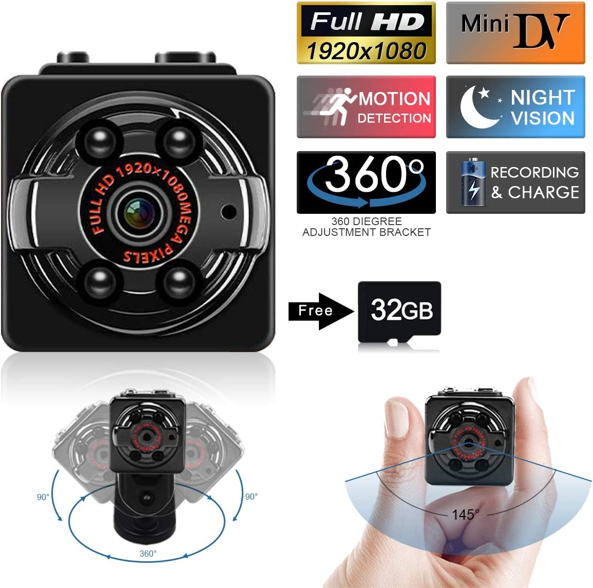 SUSZAVSS Mini Camera Hidden Spy Camera, Protable Video Recorder with 32GB SD Card, HD 1080P DVR Night Vision Motion Detection Nanny Cam for Baby Pet Monitoring Home Office Car Security