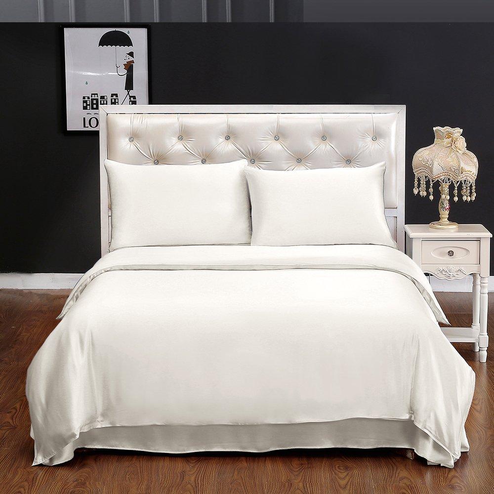 LILYSILK Seide Bettbezug 155x220cm Bettbezüge mit Edlem Schlafkomfort in 100% Seide von 19 Momme - Elfenbein
