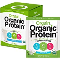 Orgain Organic Plant Based Protein Powder Travel Pack, Vanilla Bean - Vegan, Low Net Carbs, Non Dairy, Gluten Free…