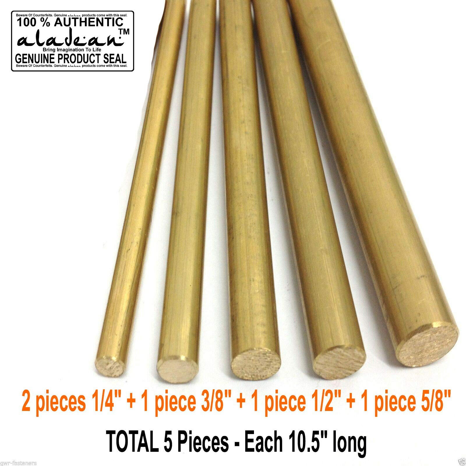 Solid Brass Round Rod 5/8'', 1/2'', 3/8'', 2X 1/4'' Set of 5 bars10.5 inch Long Lathe Machine Milling Drilling Rivet Knife Craft by Aladean