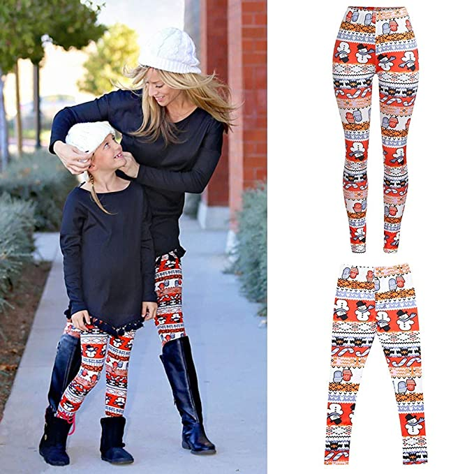 f879af7ead HYIRI Christmas Mommy &Me Women Plaid Star Print Pants Family Leggings  Pencil Clothes at Amazon Women s Clothing store