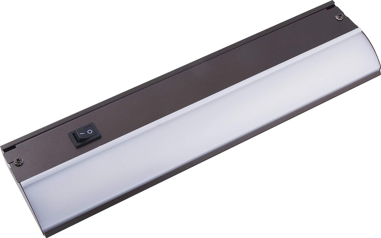 GE 12 Inch LED Premium Under Cabinet Light Fixture, Bronze Finish, Direct Wire, Warm White 3000K, 485 Lumens, Steel Housing, On Off Switch, Kitchen, Office, Vanity, Display, Garage, Workbench, 38886