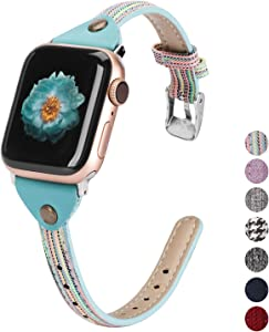 Wearlizer Compatible with Apple Watch Bands 38mm 40mm Woven Canvas Womens Slim Fabric Cloth Wristband Feminine Thick Thin Skinny Classic Durable Strap for iWatch SE Series 6 5 4 3 2 1-Colorful