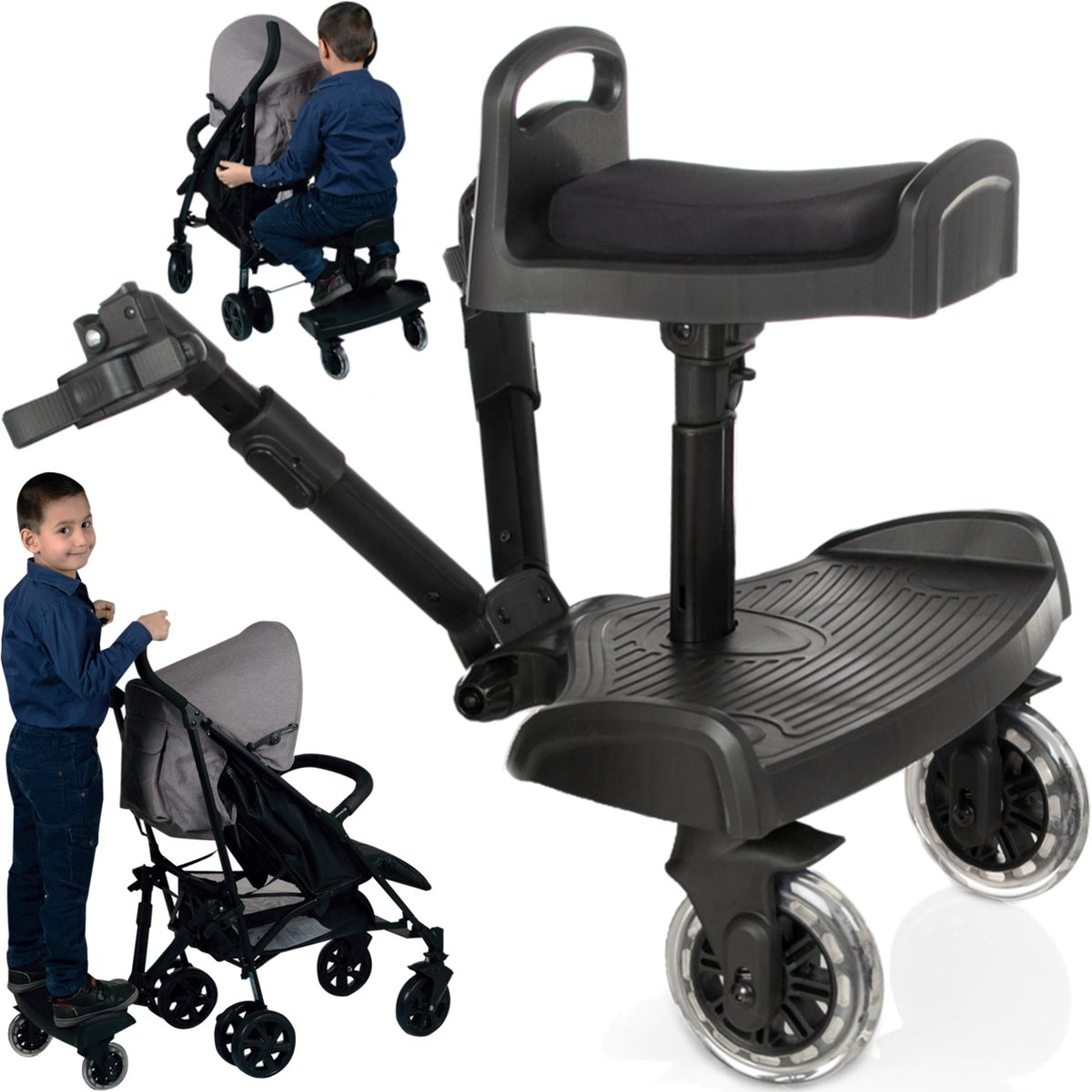Kiddy Board / Buggy Ride-On Platform + Buggy Ride-On Seat for Buggy / Stoller / Jogger (till 20 kg) Stimo24