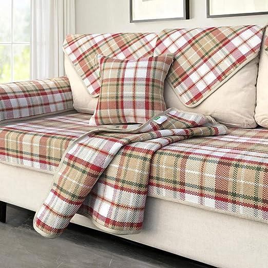 Giow Funda de sofá de algodón Funda de sofá de Rayas de Varios ...