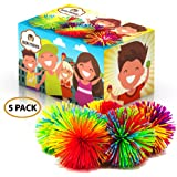 """Colorful Monkey Stringy Balls 2"""" Set of 5 Bundle Gift Box Stress Relief Relax Fidget Play Squeeze Soft Pom Sensory Toy for Kids Children Adults Office Home or Party by Kipi Toys"""