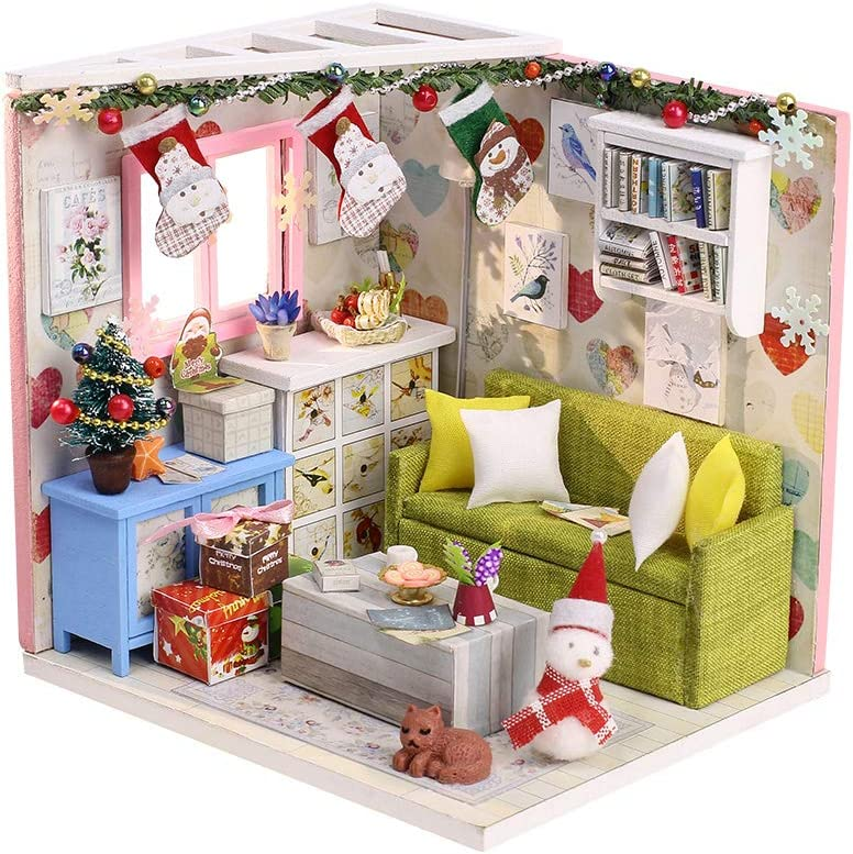 Christmas Doll House Miniature Dollhouse Kit DIY Wooden Mini House Model Dollhouse Accessories with Furniture Set Toy Plus Dust Proof Cover Educational Toys for Kids Adults (M010)