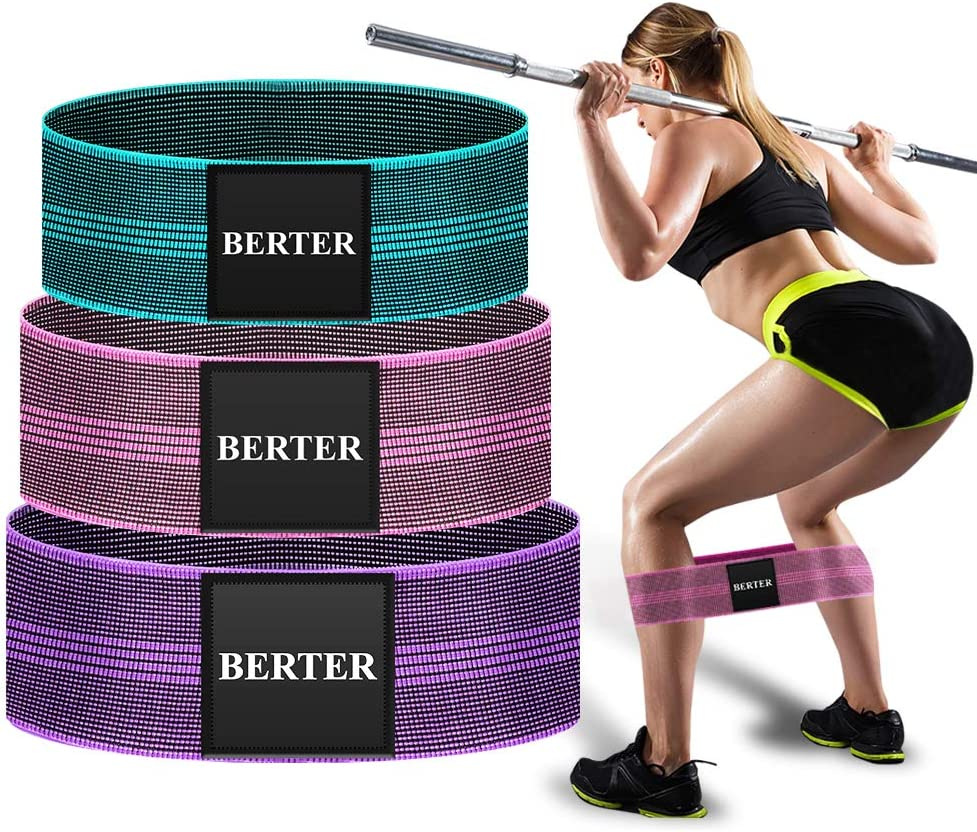 BERTER Resistance Bands for Legs and Butt, Workout Exercise Hip Bands, Fitness Booty Loop Non-Slip Bands for Squats, Deadlifts, Yoga, Sport, Pack of 3 : Sports & Outdoors